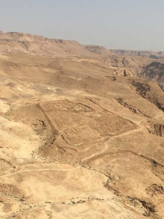 A Roman encampment outside of Masada.